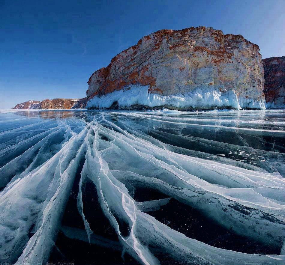 Frozen Lake Baikal in Siberia, Russia