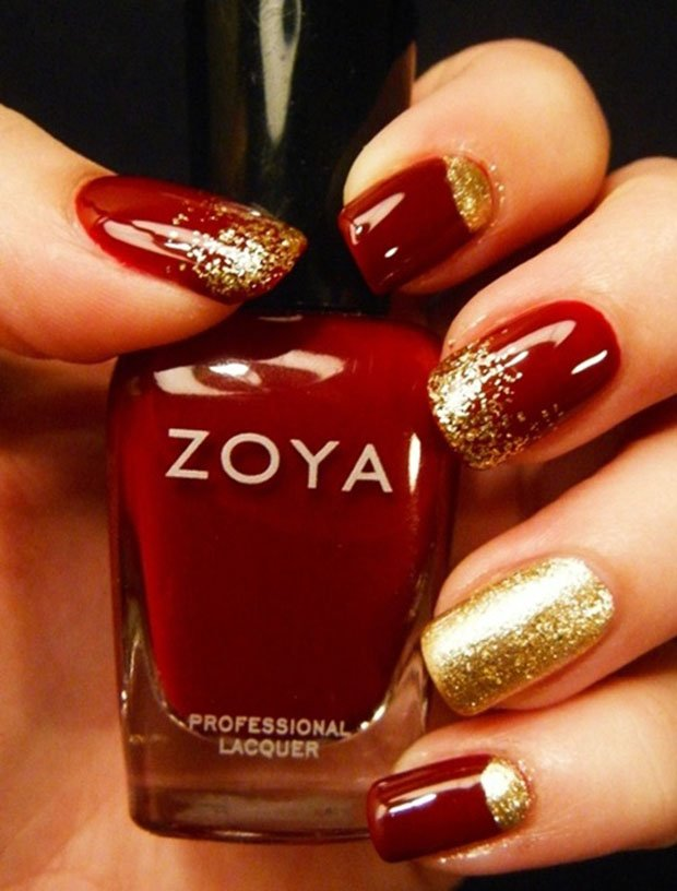 32 Beautiful Examples of Gold Glitter Nail Polish Art | World inside ...