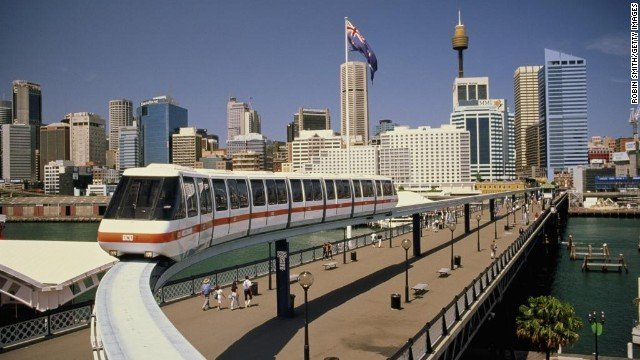 Australia,New South Wales,Sydney skyline,monorail in foreground
