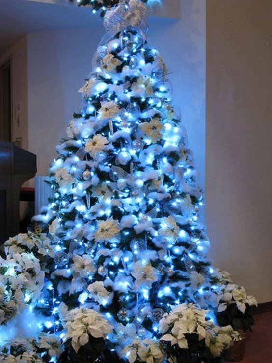 Baño Para Queque Navideno:Blue and White Christmas Tree
