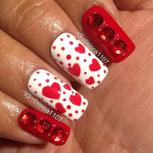 30 best simple charming valentines day nail art designs source 3 prinsesfo Gallery