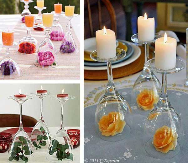 Turn wine glasses upside down and putting a candle on top and a ...