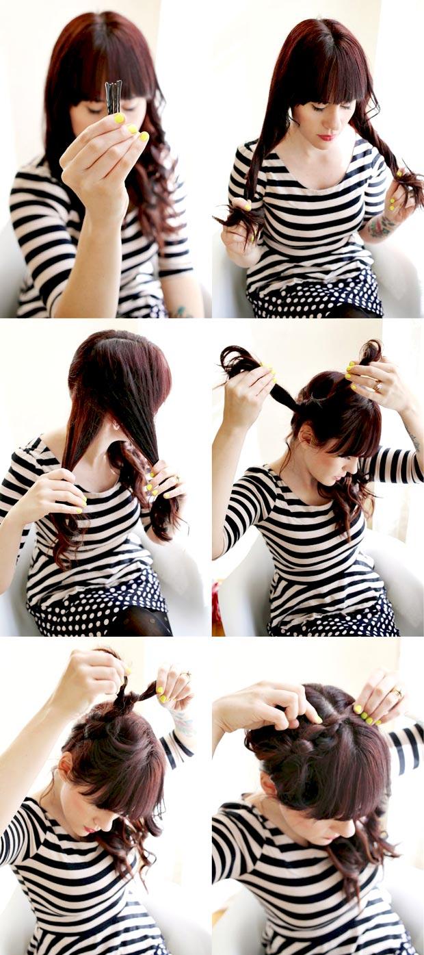 Как сделать прическу из узлов на волосах с помощью невидимки 9