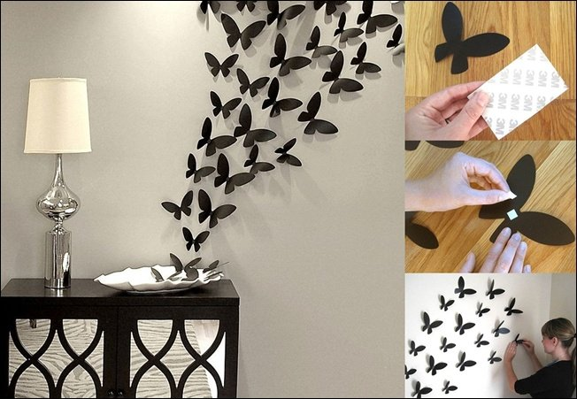 Handmade Decoration For Wall : Cheap and easy diy wall beautification with butterflies
