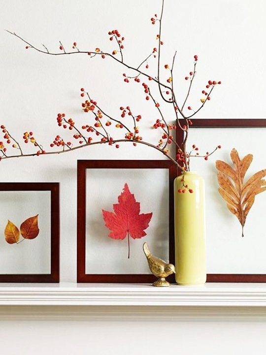 12 brilliant diy ideas with leaves for decorating your for Homemade fall decorations for home