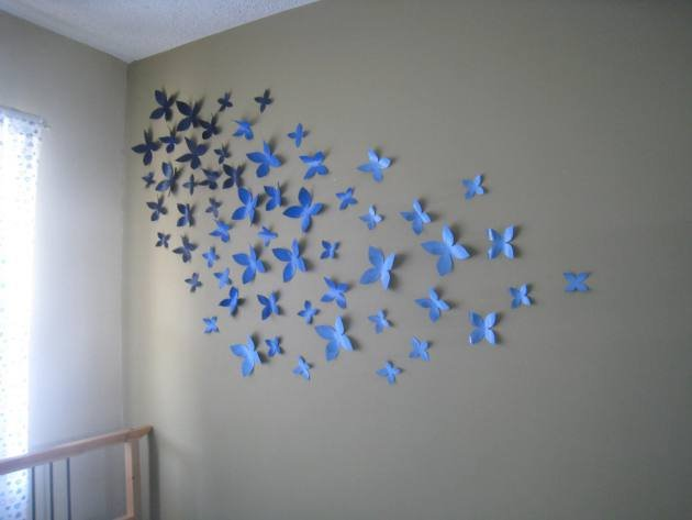 Diy paper butterfly wall art interior design blogs for How to make paper butterflies for wall
