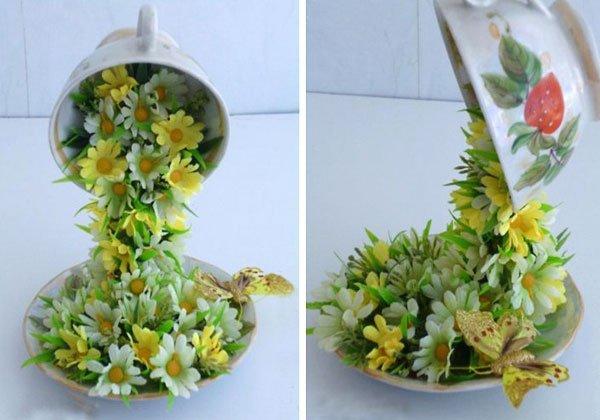Парящая чашка с цветами поделка своими руками