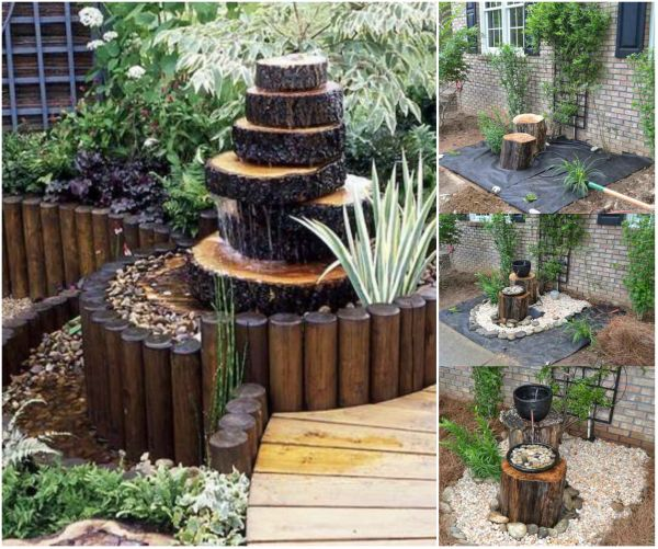 16 stunning and unique diy rustic log decorating ideas for for Wooden garden decorations