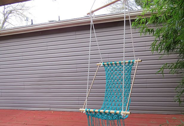 Fabulous diy way on how to make a hanging chair using the - Make a macrame hanging chair ...