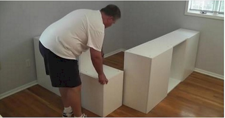 This Man Move His Ikea Kitchen Cabinets Into His Bedroom What He Transforms Them Into Is