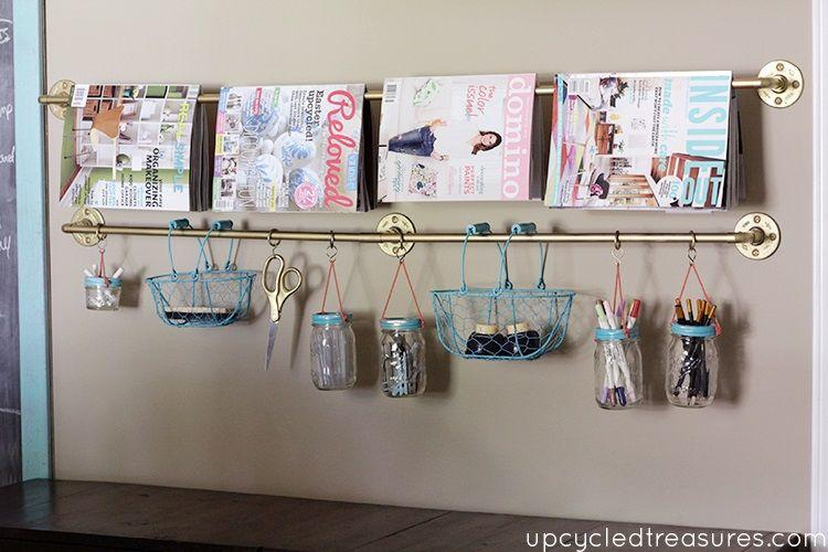 Storage Solutions For Small Spaces Part - 50: Gold Pipe Hanging Storage