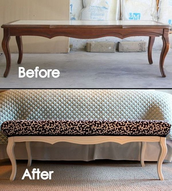 Epic DIY Stylish Ottoman from an Old Coffee Table