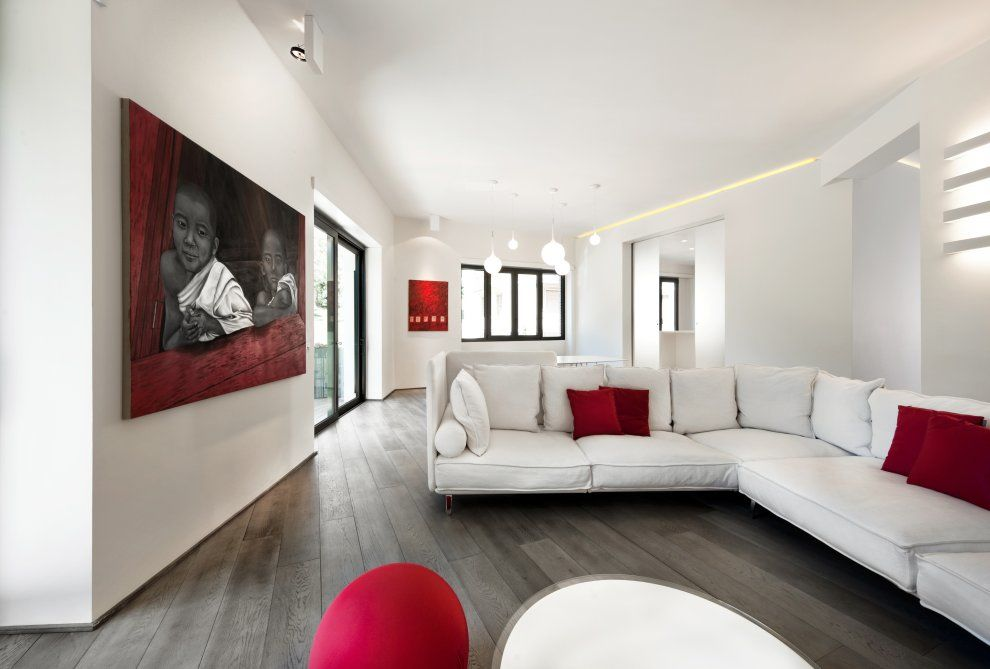 White Sofa And Red Pillows In Combination With Red Picture