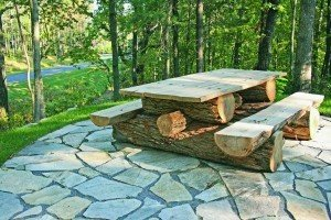 Wooden Log Picnic Tables