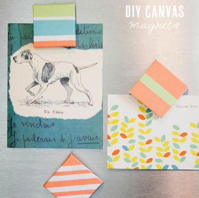 DIY canvas magnets