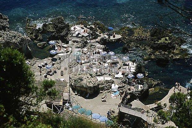 Capri , Italy . La Fontelina beach .