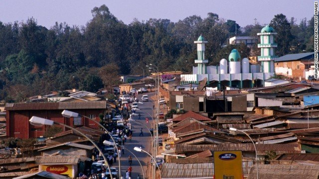Nyamirambo district cityscape of the Muslim quarter with mosque.