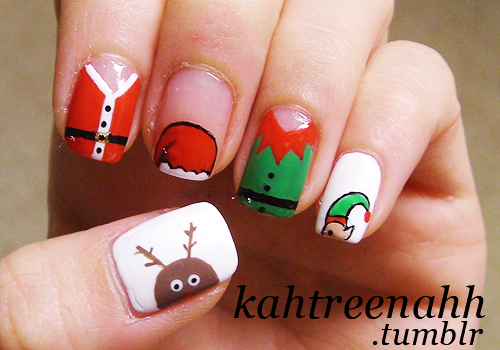 34 Striped Christmas Nail Art Designs World Inside Pictures