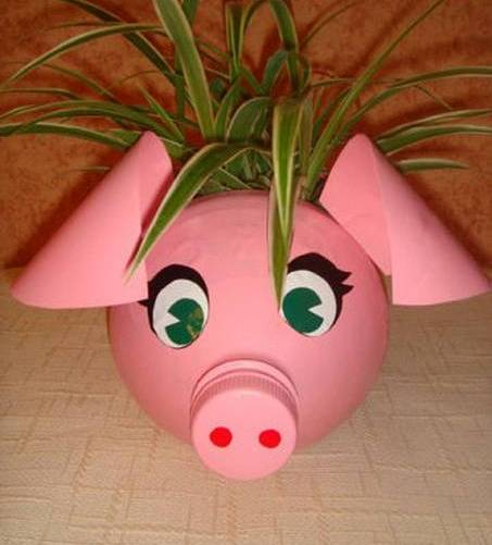 DIY-Plastic-Bottle-Piggy-Plant-Vase