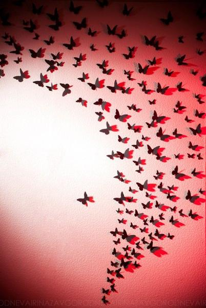 Homemade Wall Decoration With DIY Paper Butterfly 9 Source Wonderful Red And Black Colored Decor 10