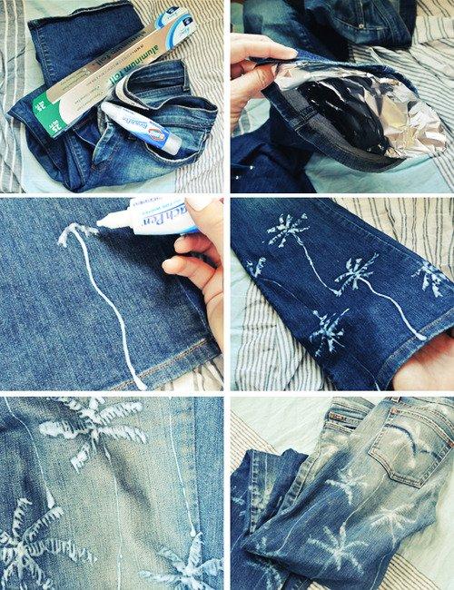 palm tree print jeans