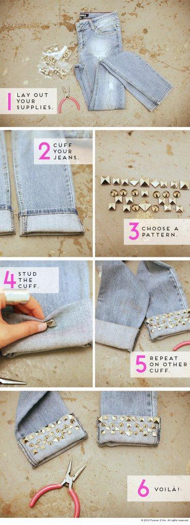 studded cuffs jeans