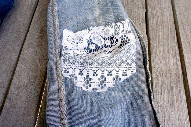 DIY lace jeans