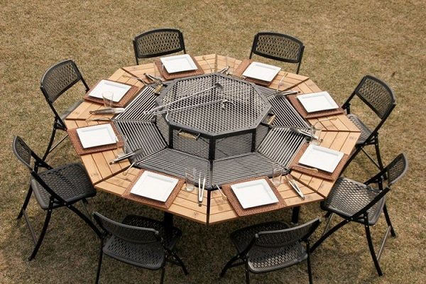 octagon fire pit grill