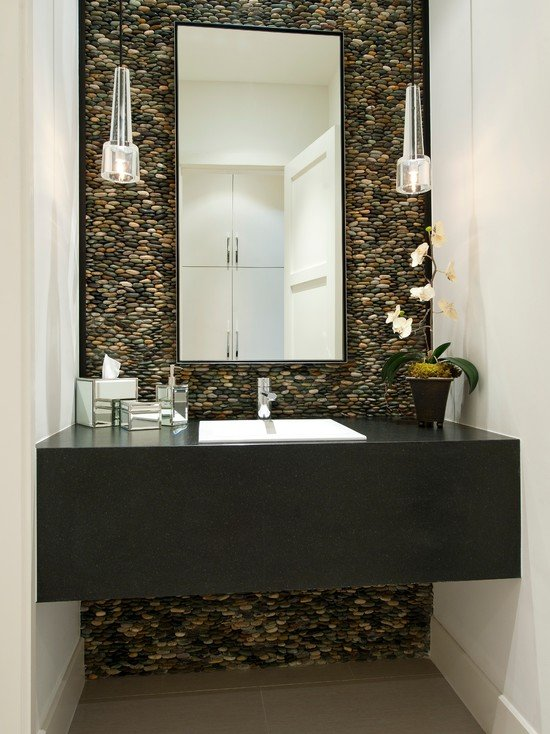 Contemporary-And-Modern-Powder-Room-Pebble-Wall-Rock-Panel-In-The-Background