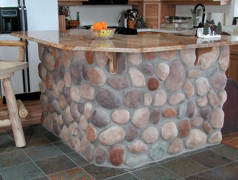 Classic Kitchen Design Interior Stone Veneer Island White Pine Bar Stool