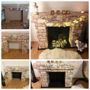 3d cardboard fireplace