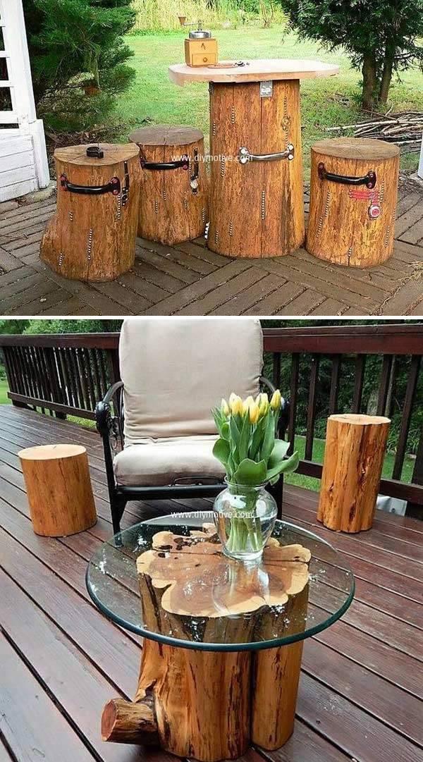 Creative Diy Tree Logs Furniture For Your Garden And Home
