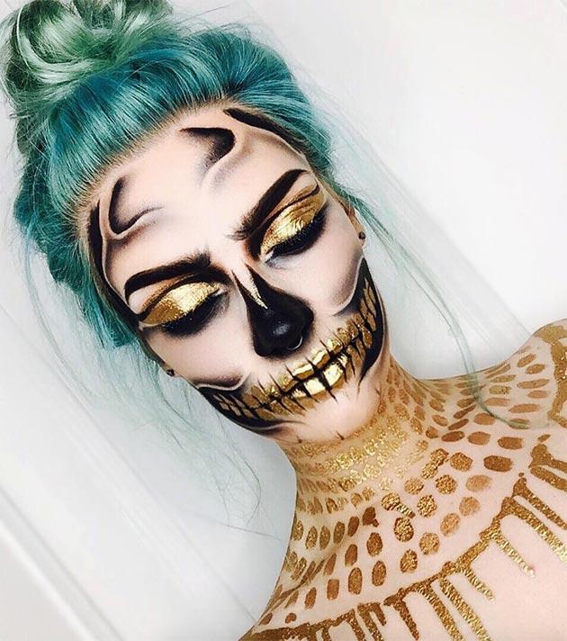 black and gold Halloween makeup