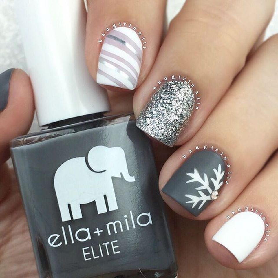 Whimsical Winter Manicure That Will Make Your Nails Stand