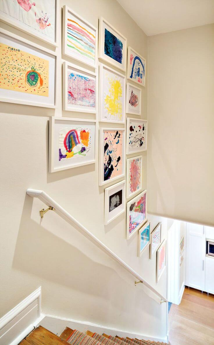 kids art staircase decor