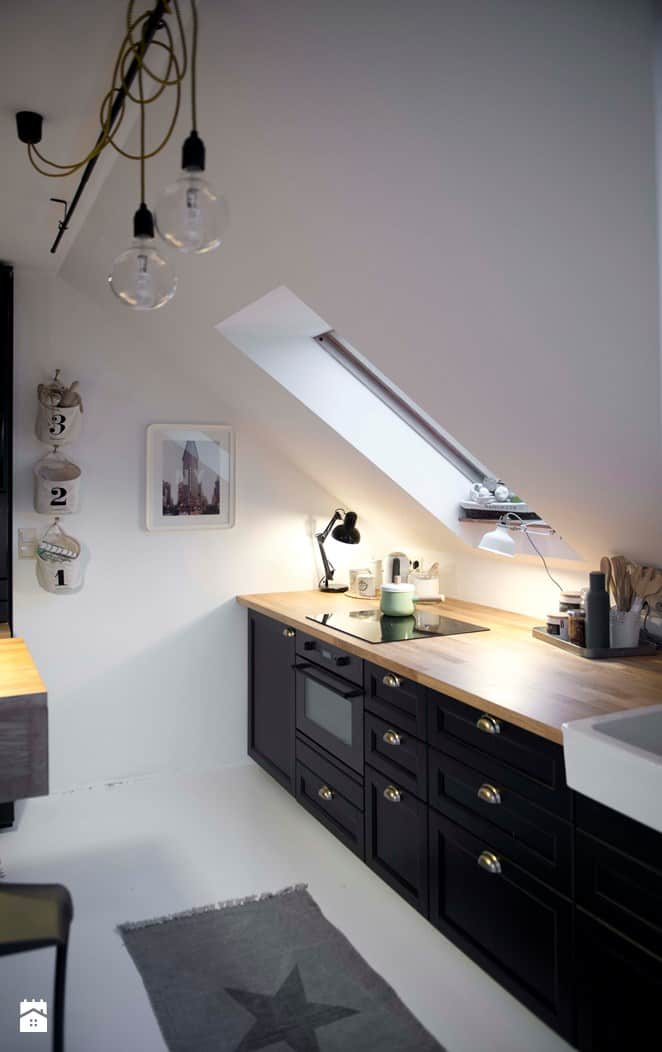 black attic kitchen