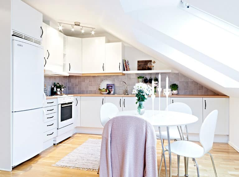 white attic kitchen