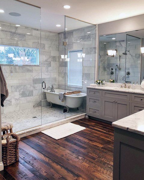 Awesome Master Bathroom Ideas With Hardwood Flooring World
