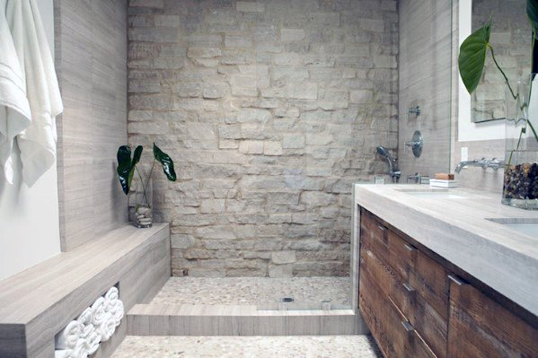 shower design ideas with bench