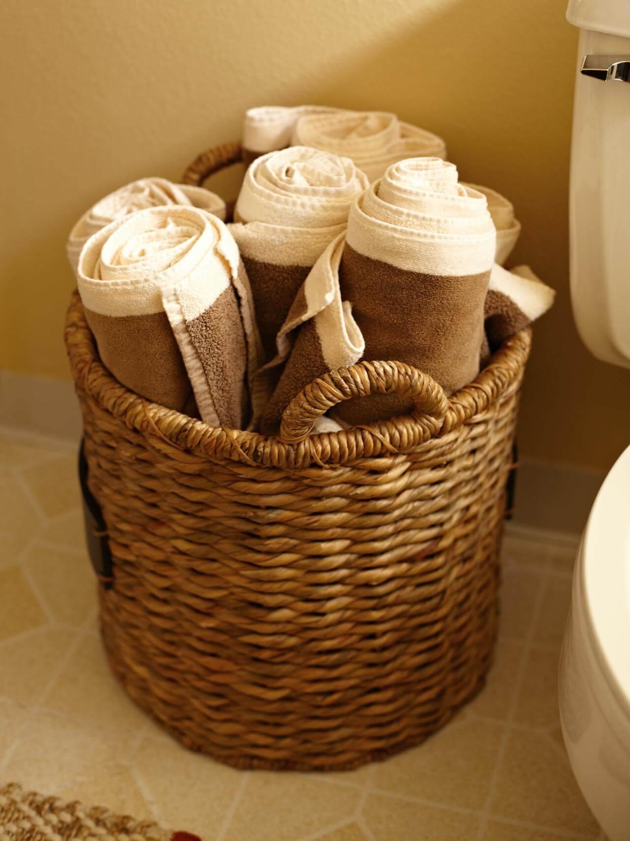 basket towel storage