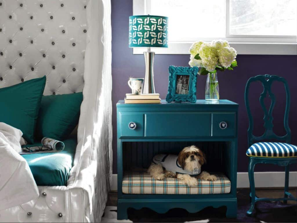 Bedroom Nightstand Designed With Pet Space And Decorated