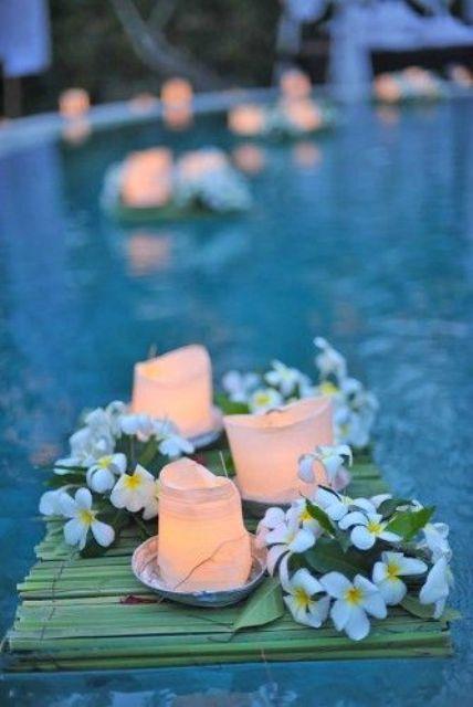 floating flowers pool wedding