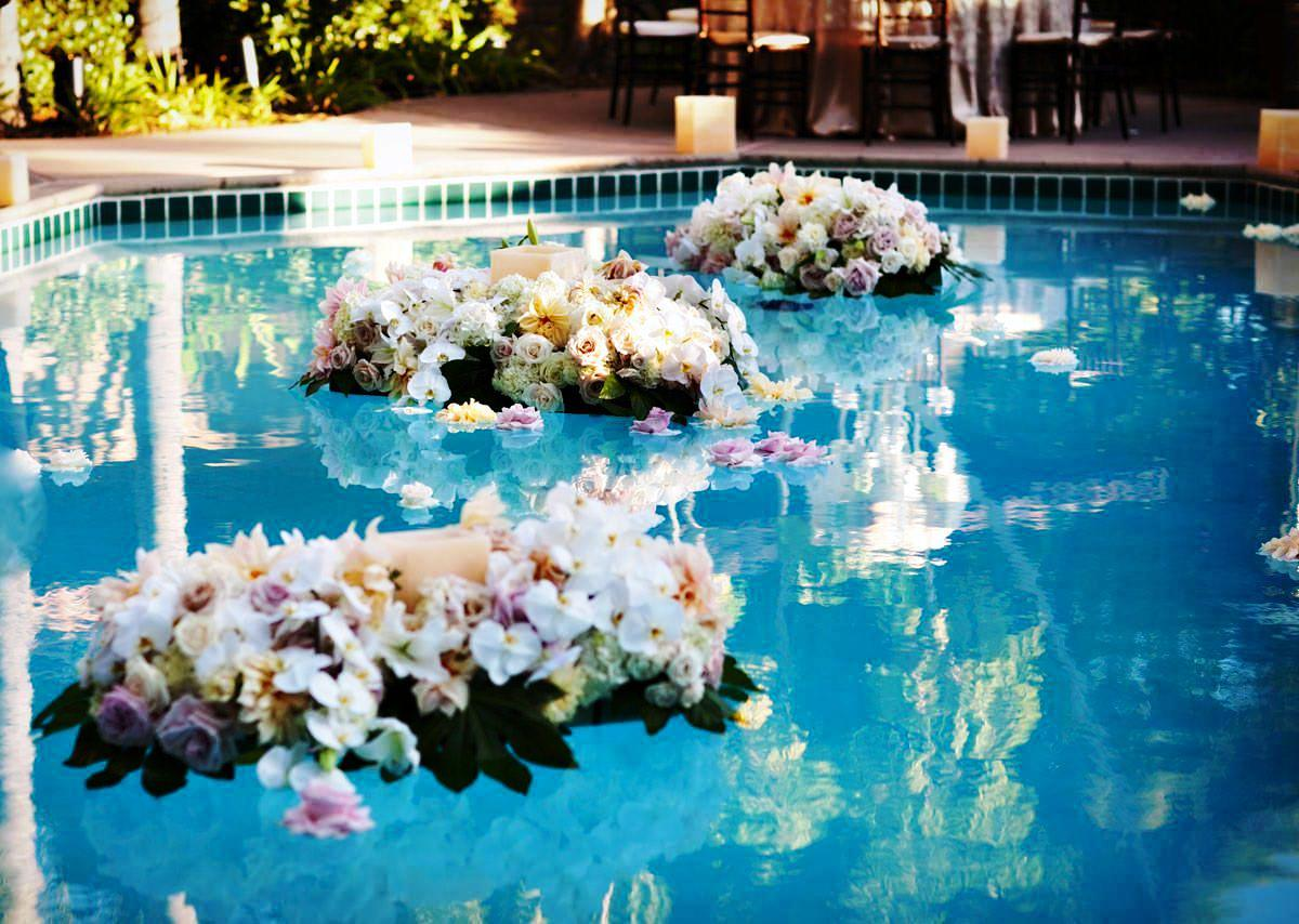 how to float flowers in a pool