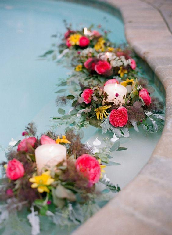 floating pool wedding decorations