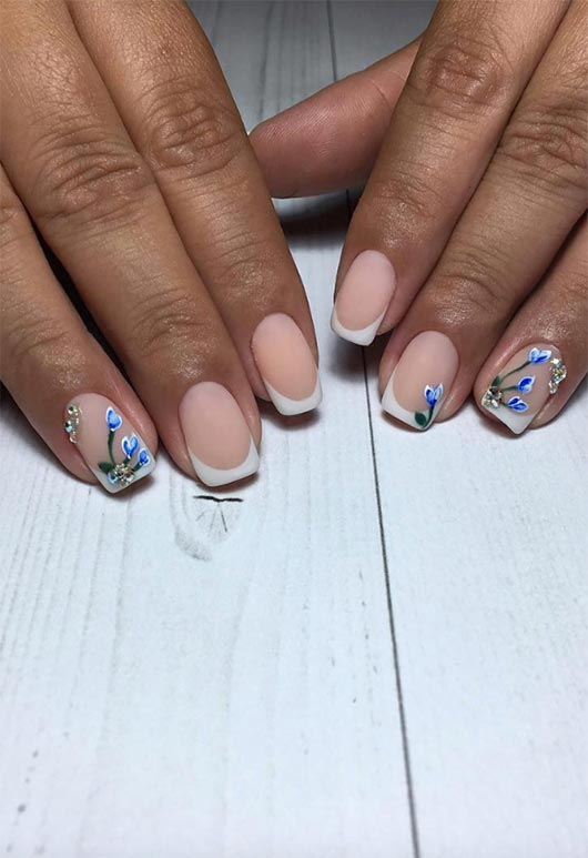 floral french nails
