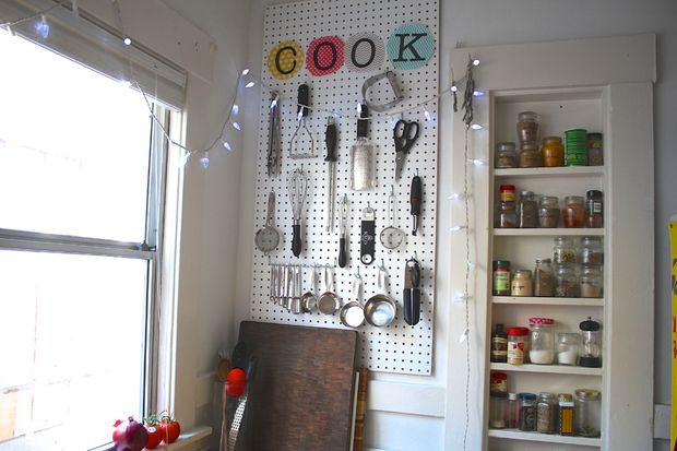 DIY pegboard kitchen organization