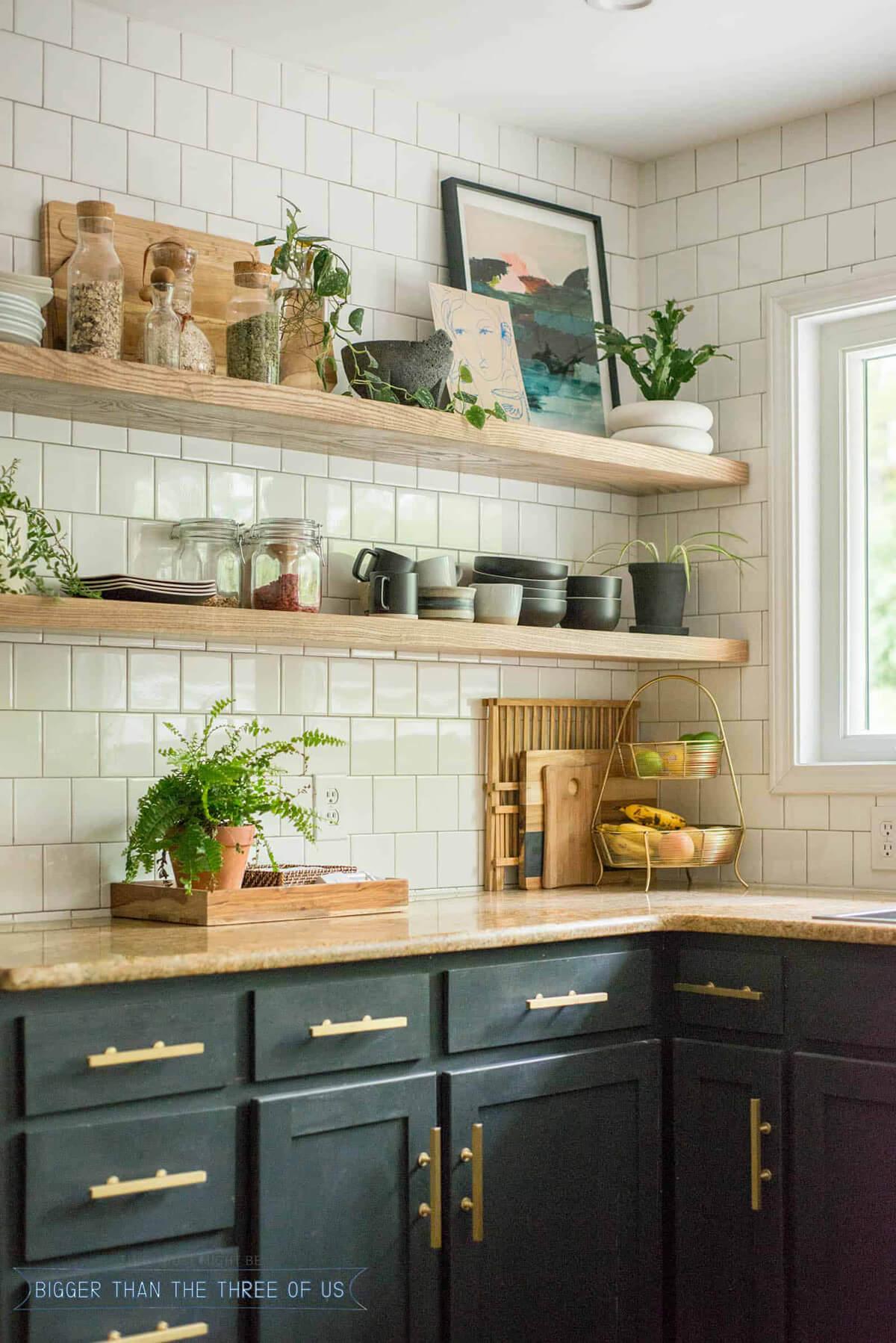étagères ouvertes idées de décoration de cuisine