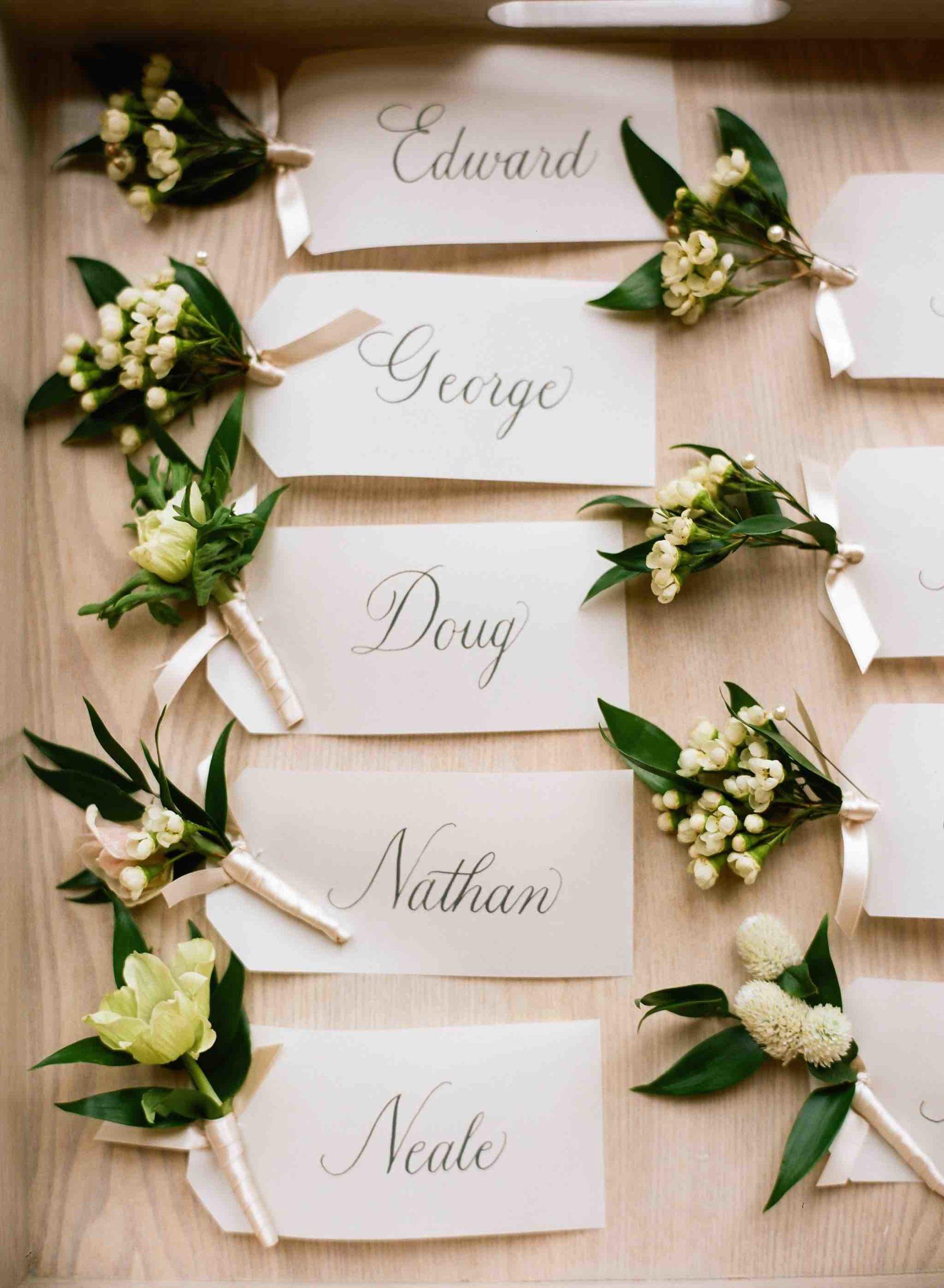 spring wedding name tags