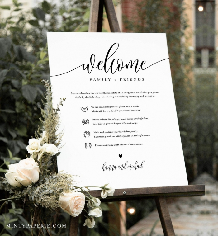 covid 19 wedding welcome sign