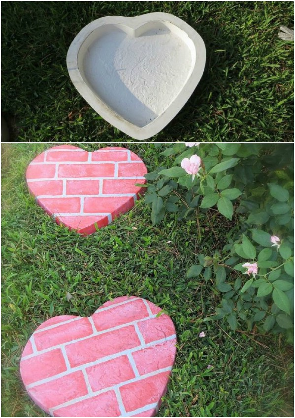 heart-shaped stepping stones